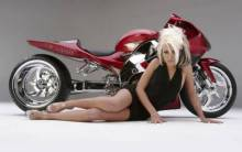 Motorcycle concept & blonde girl - Full HD Wallpaper
