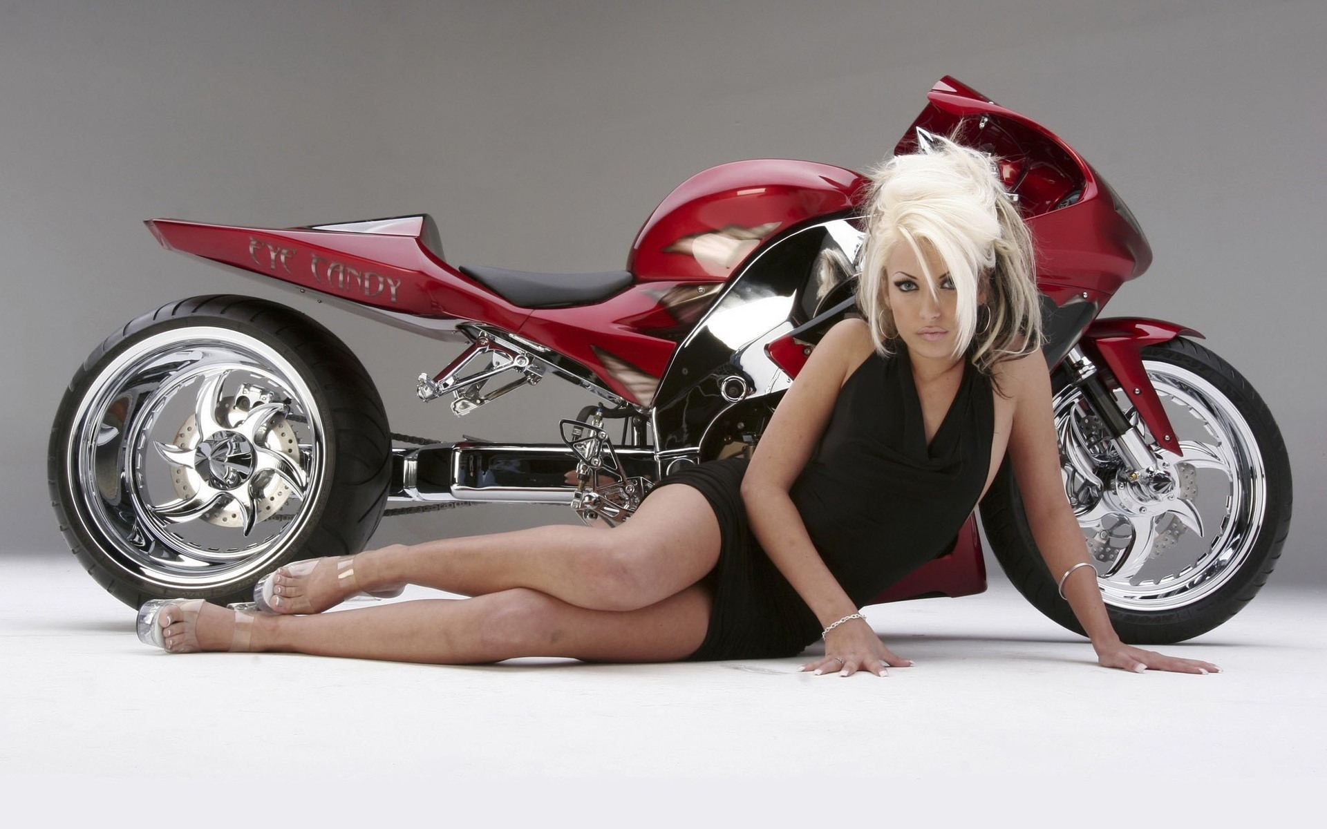 Motorcycle concept & blonde girl