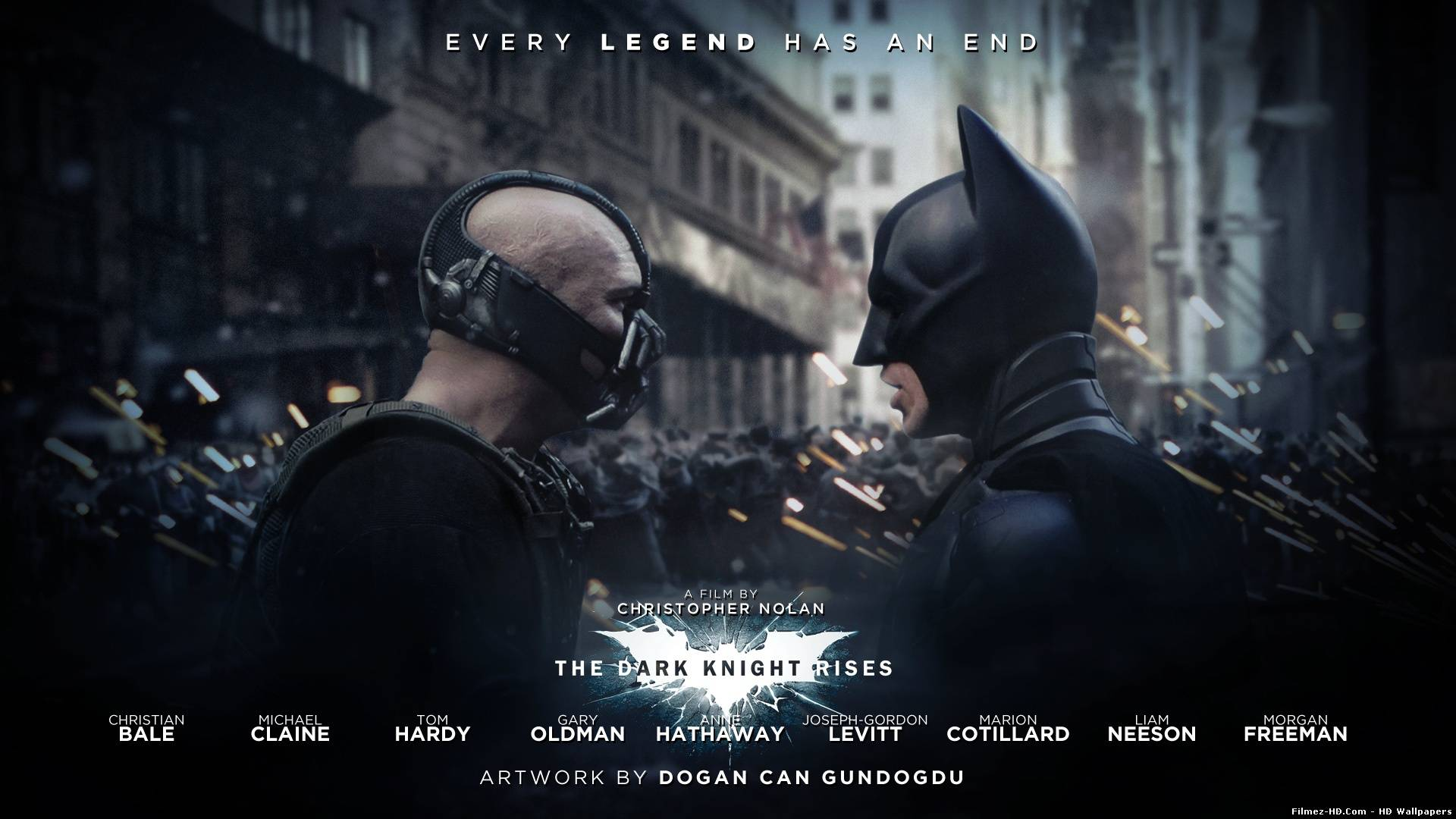 Bane and Batman in The Dark Knight Rises