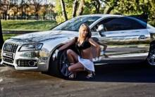 Audi A5 and blonde girl - Full HD Wallpaper